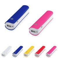 Batterie de secours iPhone personnalisé bicolore à LED 2200 mAh. Power bank publicitaire, coloris : blanc, bleu, jaune, rouge, rose