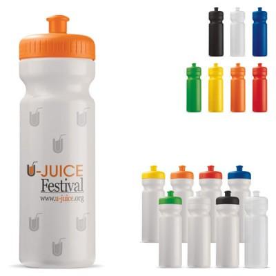 Bidon sport 750 ml pour club sportif football cycliste publicitaire personnalisable, coloris noir, blanc, bleu, vert, jaune, orange, rouge