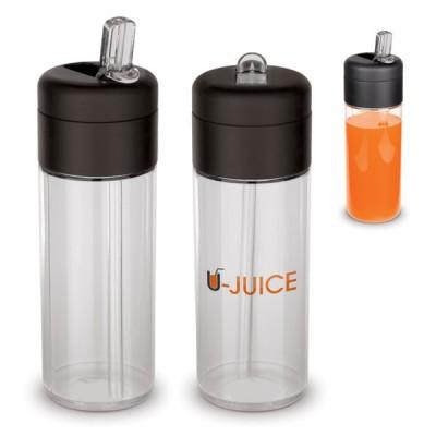 Bidon sport en tritan 400 ml personnalisée et publicitaire transparente avec paille sans bpa