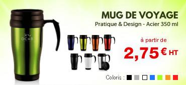 Mug de voyage personnalisé publicitaire. Coloris : noir, blanc, bleu orange, rouge, métal argenté. Travel mug personnalisable 350 ml