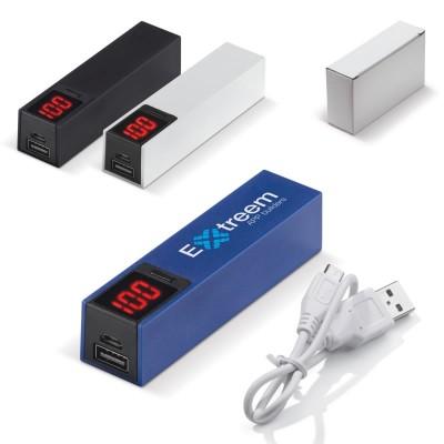 Power Bank 2600 mAh personnalisé coloris noir, blanc, bleu