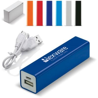 Batterie de secours externe 2200 mAh personnalisé pas cher, coloris : noir, gris, bleu, orange, rouge