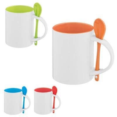 Mug avec cuillère publicitaire personnalisé, couleur : bleu, vert, orange, rouge