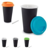 Mug de voyage isotherme personnalisable noir avec couvercle silicone en couleur : gris, blanc, bleu, vert, orange