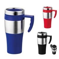 Mug isotherme thermos personnalisable publicitaire pas cher, coloris noir, bleu, rouge
