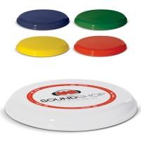 Frisbee personnalisable en quadri. Frisbee publicitaire en plastique coloré : blanc, bleu, vert, jaune, rouge