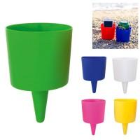 Porte canette ou objets pour la plage personnaisable publicitaire, coloris : blanc, bleu, vert, jaune, rouge, rose