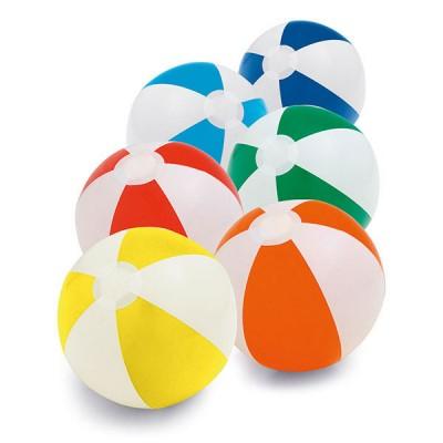 Ballon gonflable personnalisable publicitaire, bicolore, coloris : jaune/blanc, bleu/blanc, vert/blanc, orange/blanc, rouge/blanc