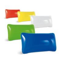 Coussin de plage personnalisé, gonflable, coloris : blanc, bleu, jaune, rouge