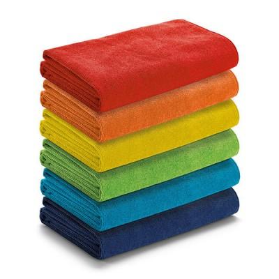 Serviette de plage personnalisable publicitaire, coloris : bleu marine, bleu, vert, jaune, orange, rouge. Serviette microfibre publicitaire