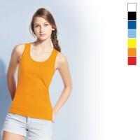 Débardeur femme publicitaire personnalisable Jane Sol's 190 Grs. Coloris : noir, blanc, bleu marine, bleu clair, jaune, orange, rouge
