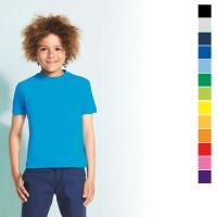 Tee-shirt enfant publicitaire Regent Sol's 150 Grs. T-shirt enfant personnalisé, coloris : noir, gris, bleu marine, bleu royal, bleu clair, vert, vert clair, jaune, orange, orange clair, rouge, rose, violet