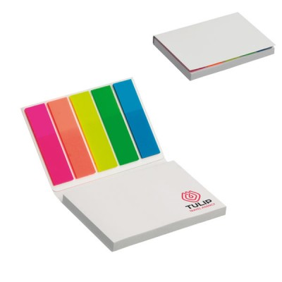 Etui grand bloc post it et 5 petit post it couleur personnalisable quadri publicitaire