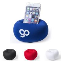 Support Smartphone en forme de pouf personnalisé publicitaire noir, blanc, bleu, rouge