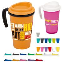 Mug isotherme à poignée personnalisé publicitaire pas cher, coloris : noir, gris, blanc, bleu, vert, jaune, orange, rouge, rose, violet