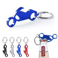 Porte-clés moto décapsuleur publicitaire personnalisé en métal noir, argent, bleu, rouge