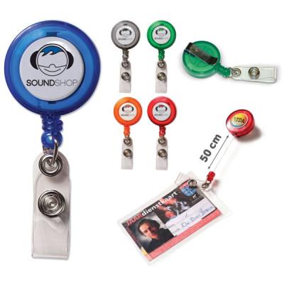 Porte-badge enrouleur personnalisé publicitaire avec cordon de 50 cm