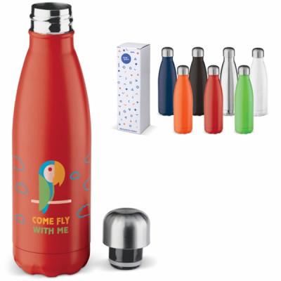Bouteille thermos 500 ml publcitaire coloris noir, argenté, bleu, vert, orange, rouge, blanc