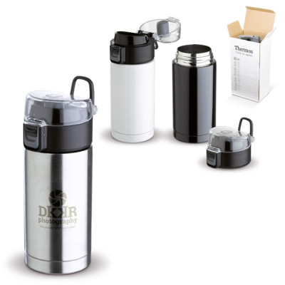 Mug thermos isotherme publcitaire étanche blanc, noir, argent personnalisé