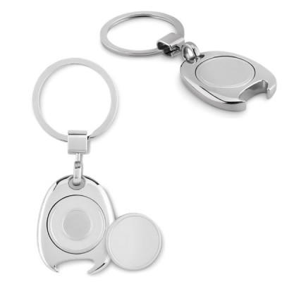 Porte-clés jeton de caddie décapsuleur personnalisable publicitaire