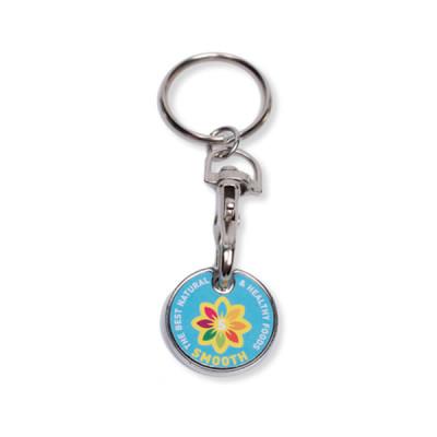 Porte-clés jeton de caddie personnalisable en quadri pas cher publicitaire