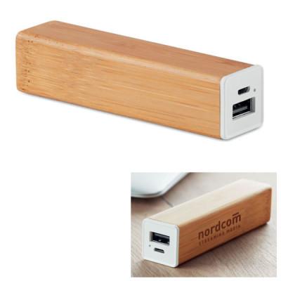 Batterie externe Bambou objet publicitaire goodies power bank
