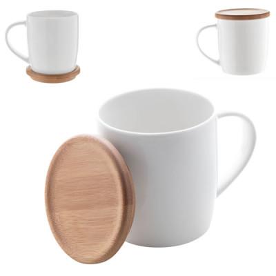 Mug porcelaine et bambou objet publicitaire goodies