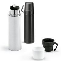 Bouteille isotherme blanche ou noire goodies publicitaire personnalisable