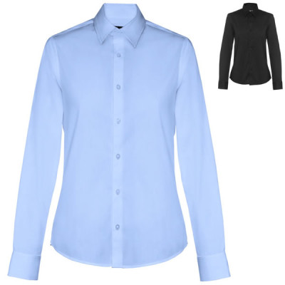 chemise manche longues noire ou bleue femme personnalisable publicitaire