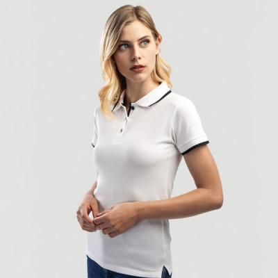 polo slim fit blanc femme personnalisé goodies
