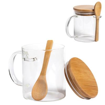 Mug en verre personnalisable avec cuillère et couvercle en bambou Objet publicitaire personnalisé