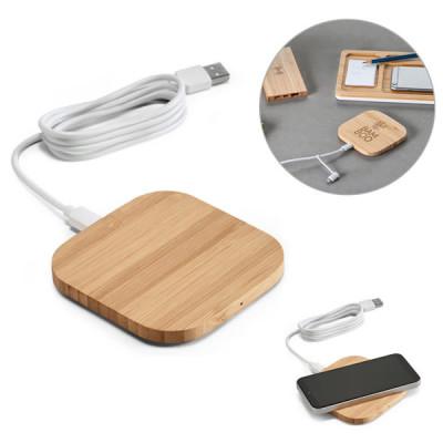 chargeur sans fil bambou téléphone smartphone