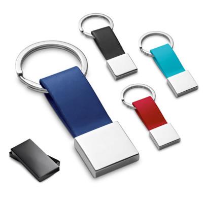 porte clés carré métal simili cuir publicitaire personnalisable