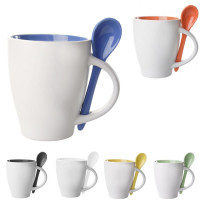 Mug personnalisable publicitaire avec cuillère couleur