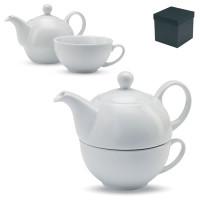 Tasse théière personnalisée publicitaire en porcelaine blanche