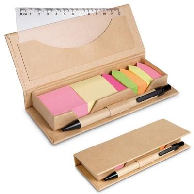 Boîte avec 7 bloc notes post it personnalisé un stylo bille et une règle