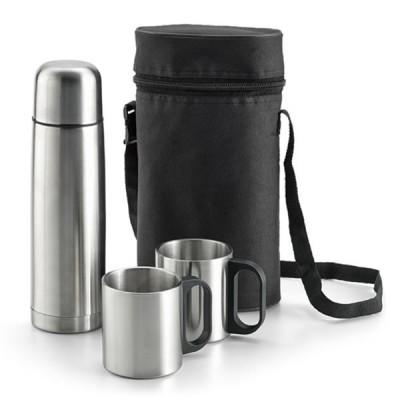 Bouteille isotherme personnalisé avec 2 mugs et sac de transport Bouteille thermos 500 ml publicitaire