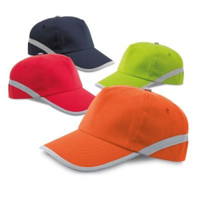 Casquette publicitaire personnalisable avec bade réfléchissante coloris : bleu rouge vert orange