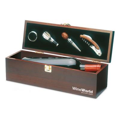 Coffret en bois pour bouteille de vin 4 accessoires vin personnalisé publicitaire