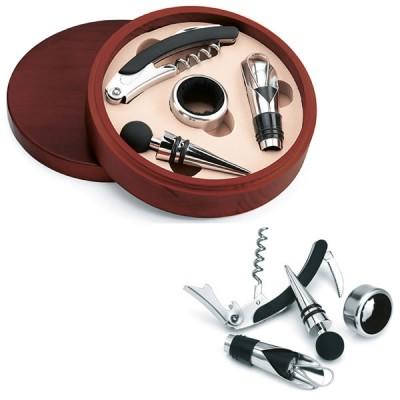 Coffret 4 accessoires vin personnalisé publicitaire avec tire-bouchon collier anti-gouttes bouchon bec verseur