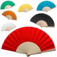 Grand éventail personnalisé espagnol bois et tissu coloré : blanc, noir, bleu, vert, jaune, orange, rouge. Éventail personnalisé mariage ou publicitaire