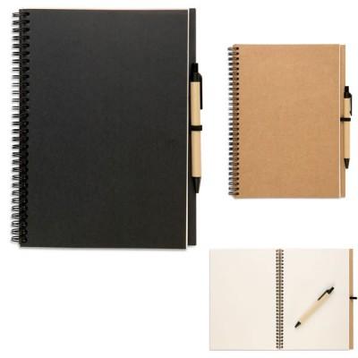 Grand cahier à spirales avec stylo personnalisé publicitaire