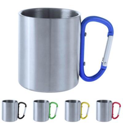 Mug anse mousqueton personnalisé 200 ml métal pour camping randonnée publicitaire