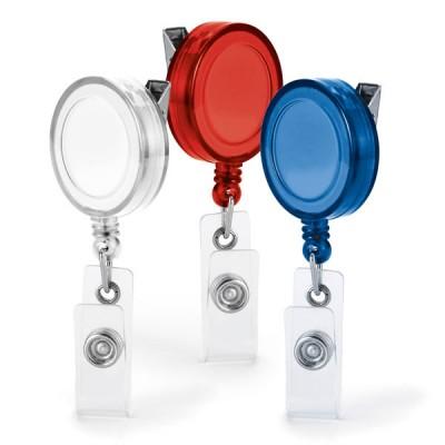 Porte badge enrouleur personnalisable publicitaire avec attache ceinture 3 coloris blanc ou bleu ou rouge
