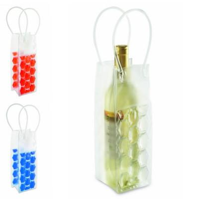 Sac rafraîchisseur à vin personnalisable en plastique coloré bleu ou rouge ou transparent avec anses