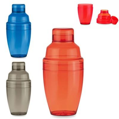 Shaker cocktail publicitaire personnalisable en plastique rouge ou bleu ou noir