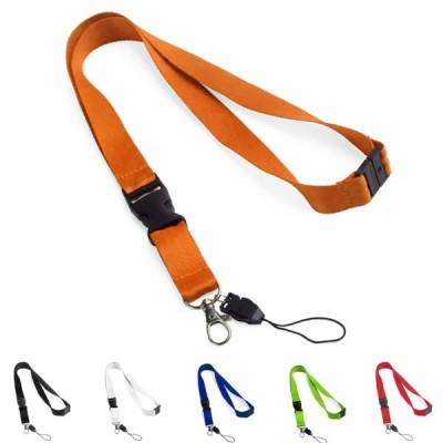 Lanyard tour de cou personnalisable pour porte badge et fermeture de sécurité 6 coloris au choix : noir, blanc, bleu, vert, orange, rouge