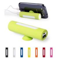 Batterie de secours avec support iPhone personnalisé 2200 mAh. Power bank publicitaire noir, blanc, bleu, jaune, orange, rouge, rose, vert