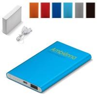 Batterie externe secours téléphone iPhone Smartphone 4000 mah Power Bank plate couleur noir, gris, bleu, orange, rouge