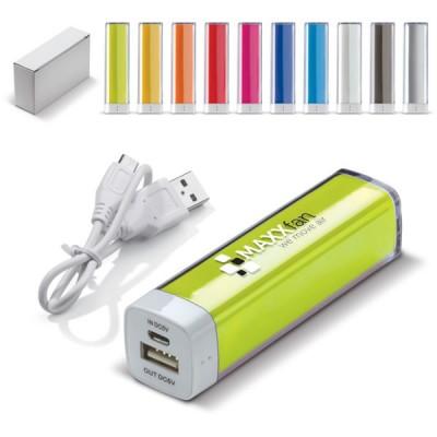 Power bank 2200 mah pas cher cher personnalisé publicitaire, coloris noir blanc, gris, bleu, vert, jaune, orange, rouge, rose